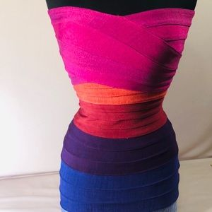 Vibrant Multicolor Spandex Strapless Dress